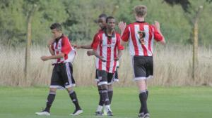 Joshua Bohui (facing camera) has played for the England Under 18s and has also been called up for the Ivory Coast national youth squad.